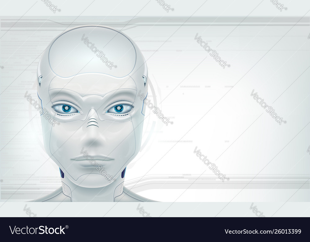 Futuristic head robot android on white background