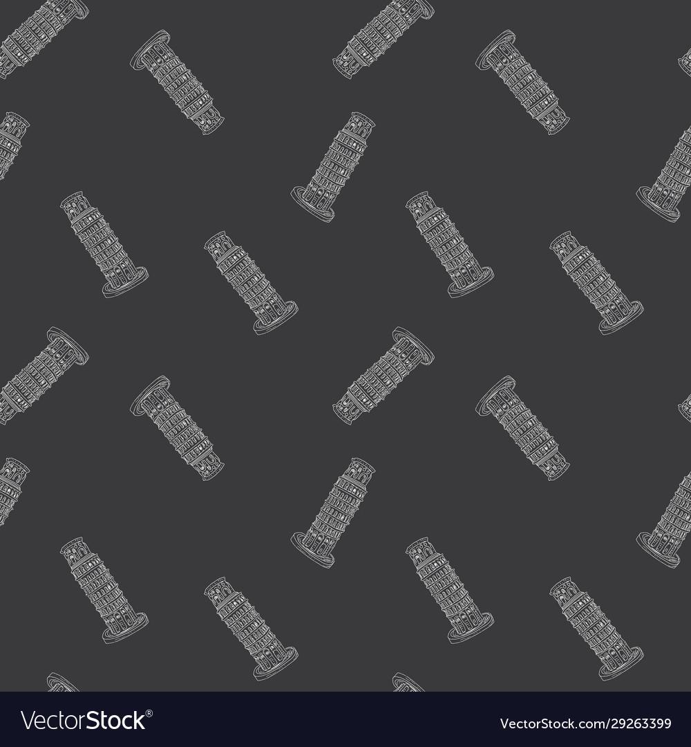 Leaning tower pisa seamless pattern hand drawn