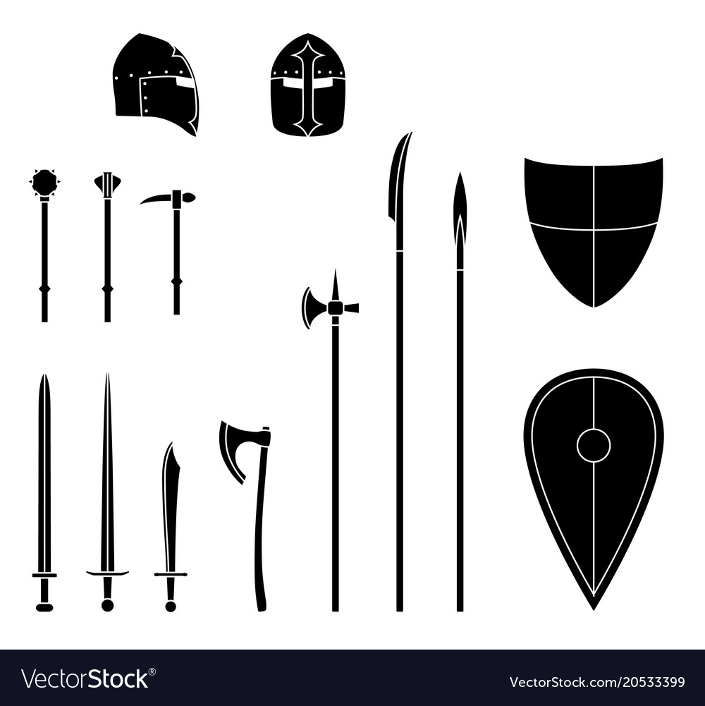 Medieval weapons and armors set medieval warrior