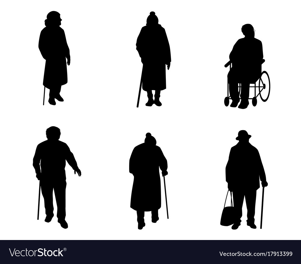 Older People Silhouettes Royalty Free Vector Image