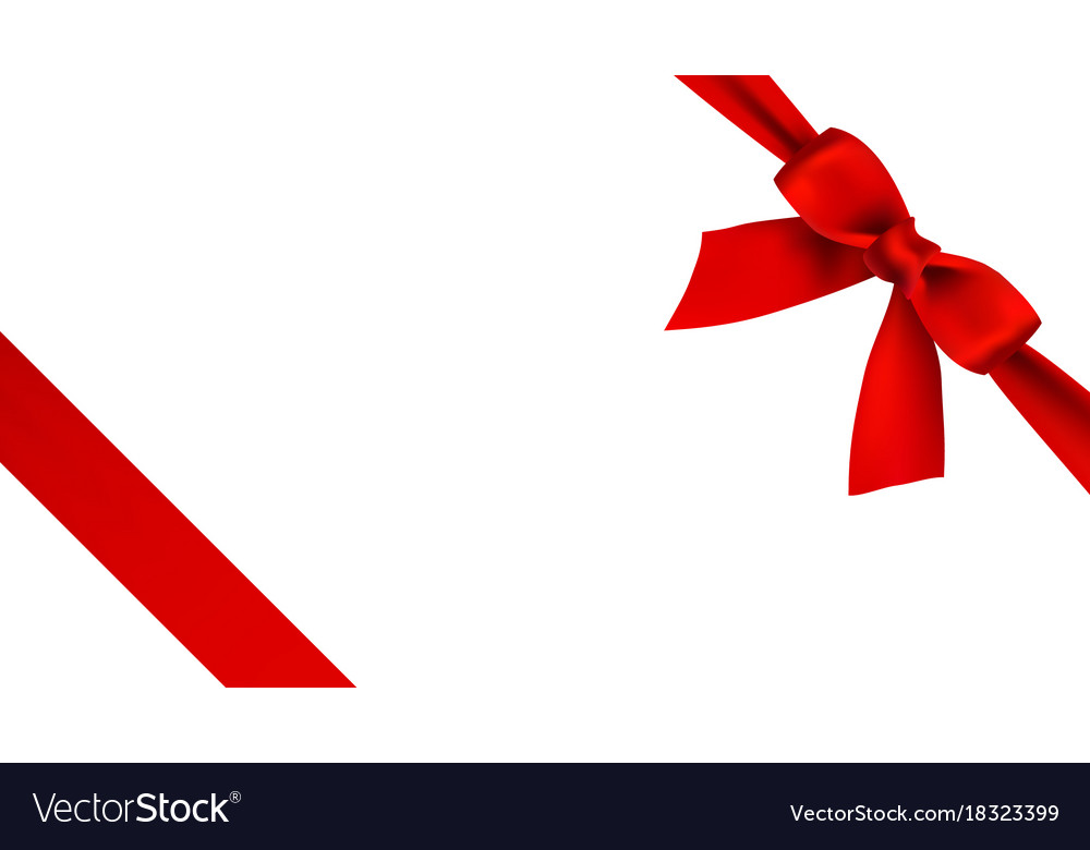 Realistic red bow and ribbon on white background