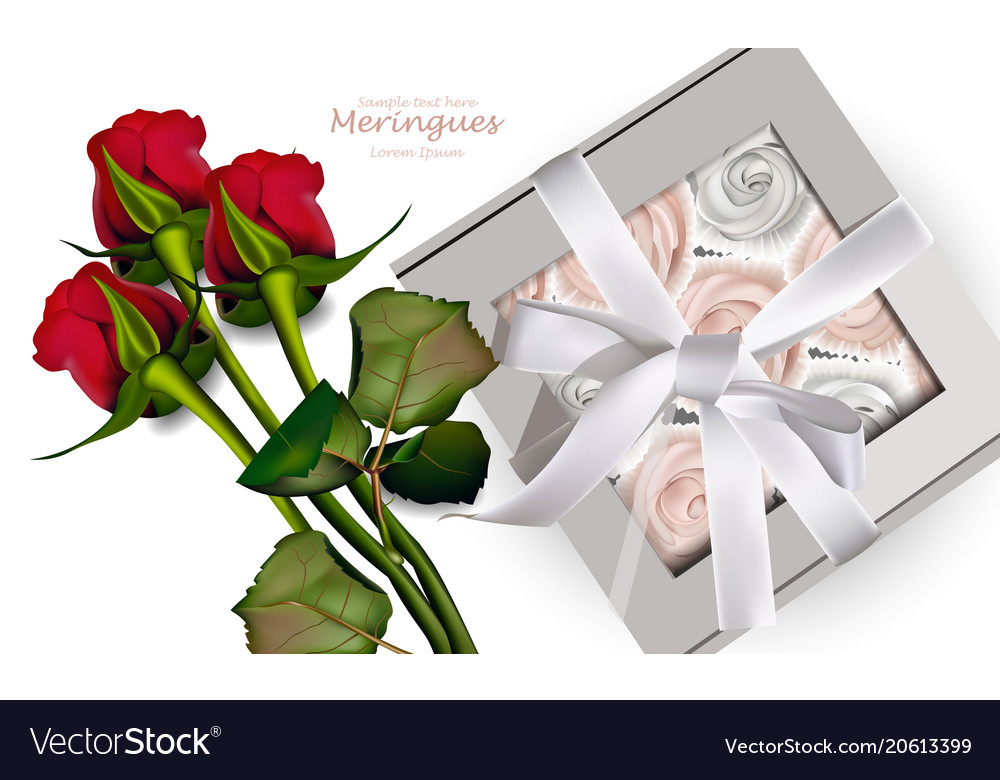 Red roses bouquet and meringues realistic vector image