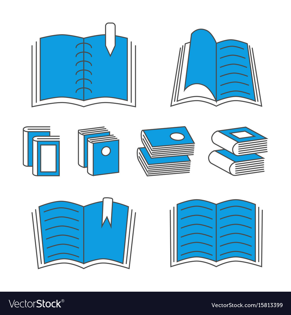 Thin line book icons with color elements isolated
