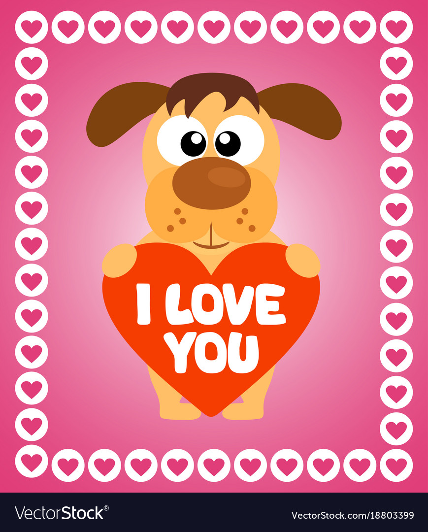 Valentines day background card with dog