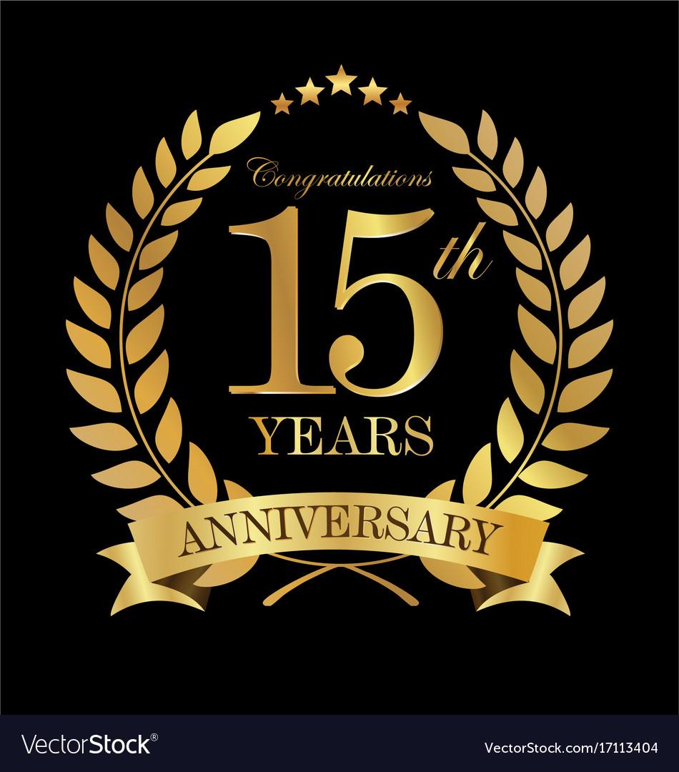 Anniversary golden laurel wreath 15 years 2