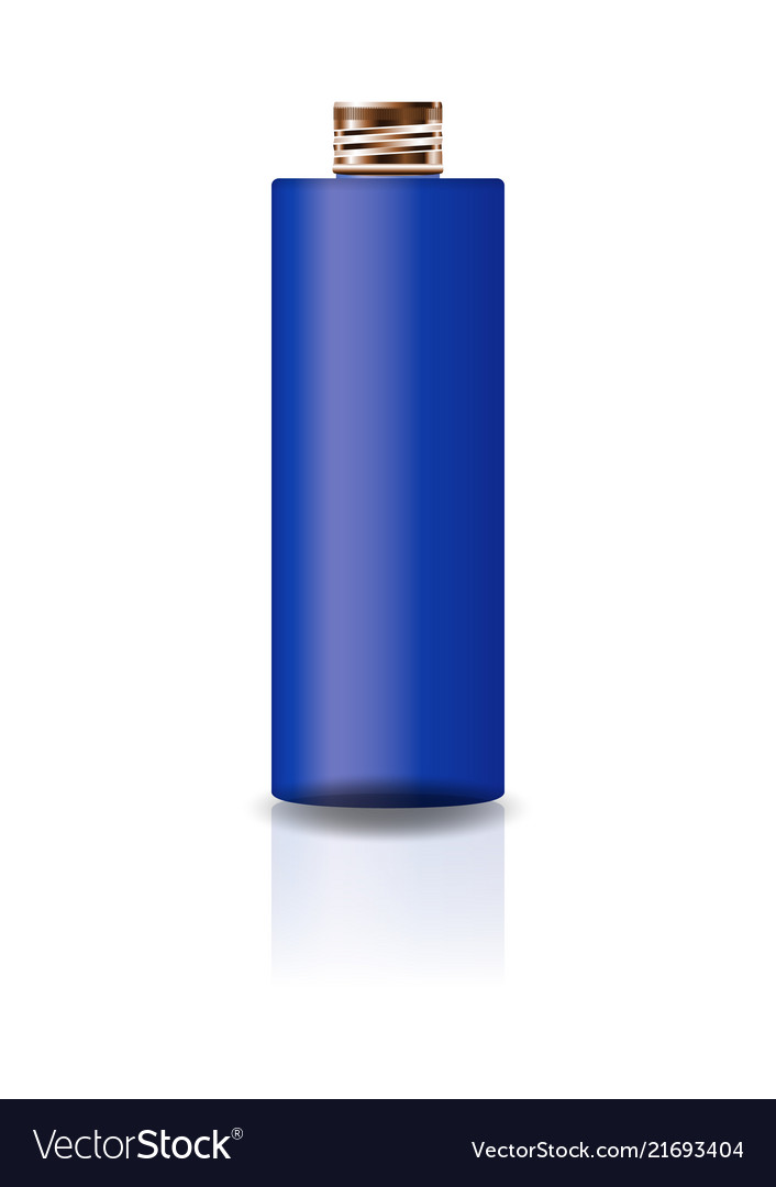Blue cosmetic cylinder bottle with copper lid