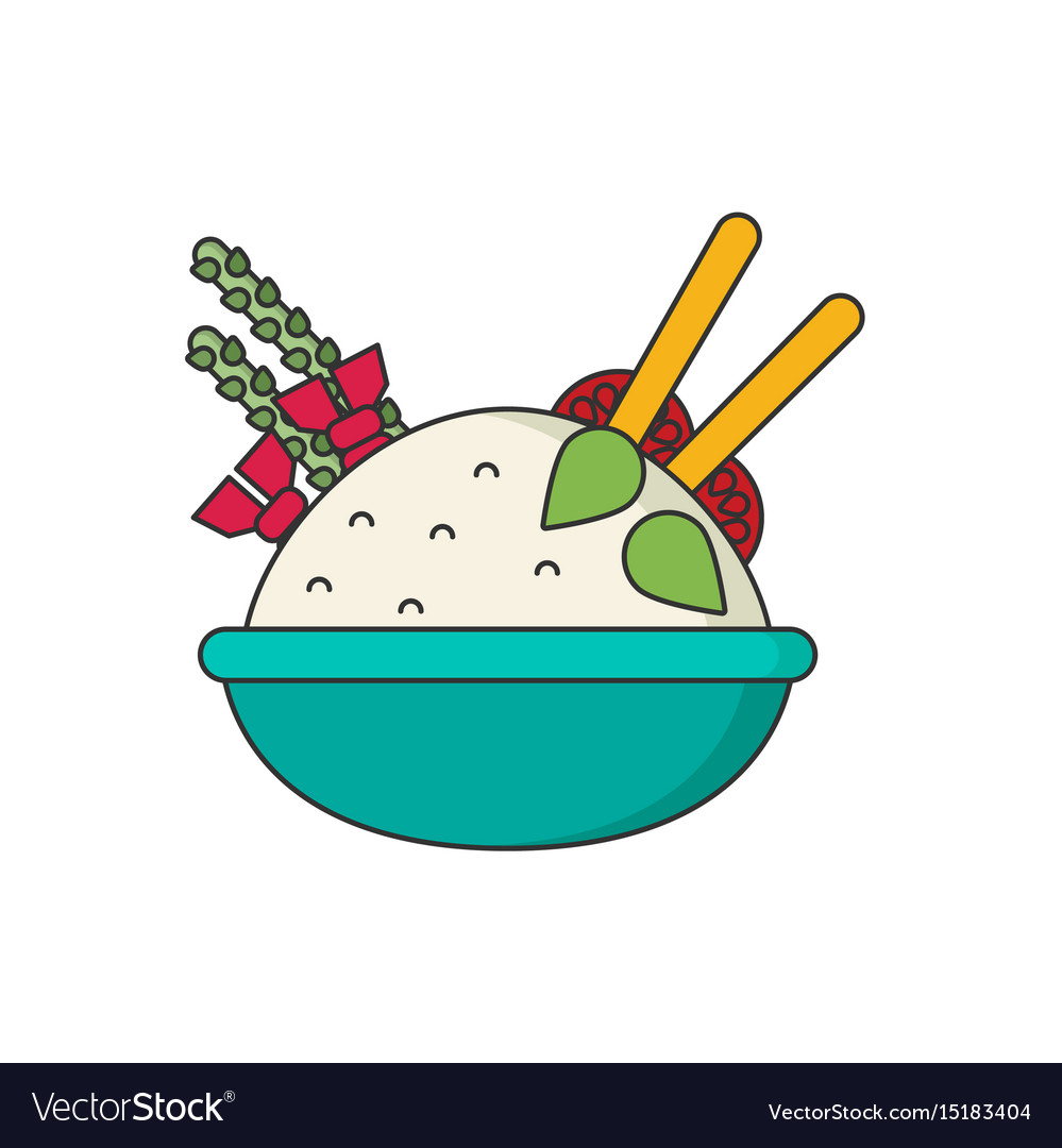 Bowl of rice with pair of chopsticks in color vector image