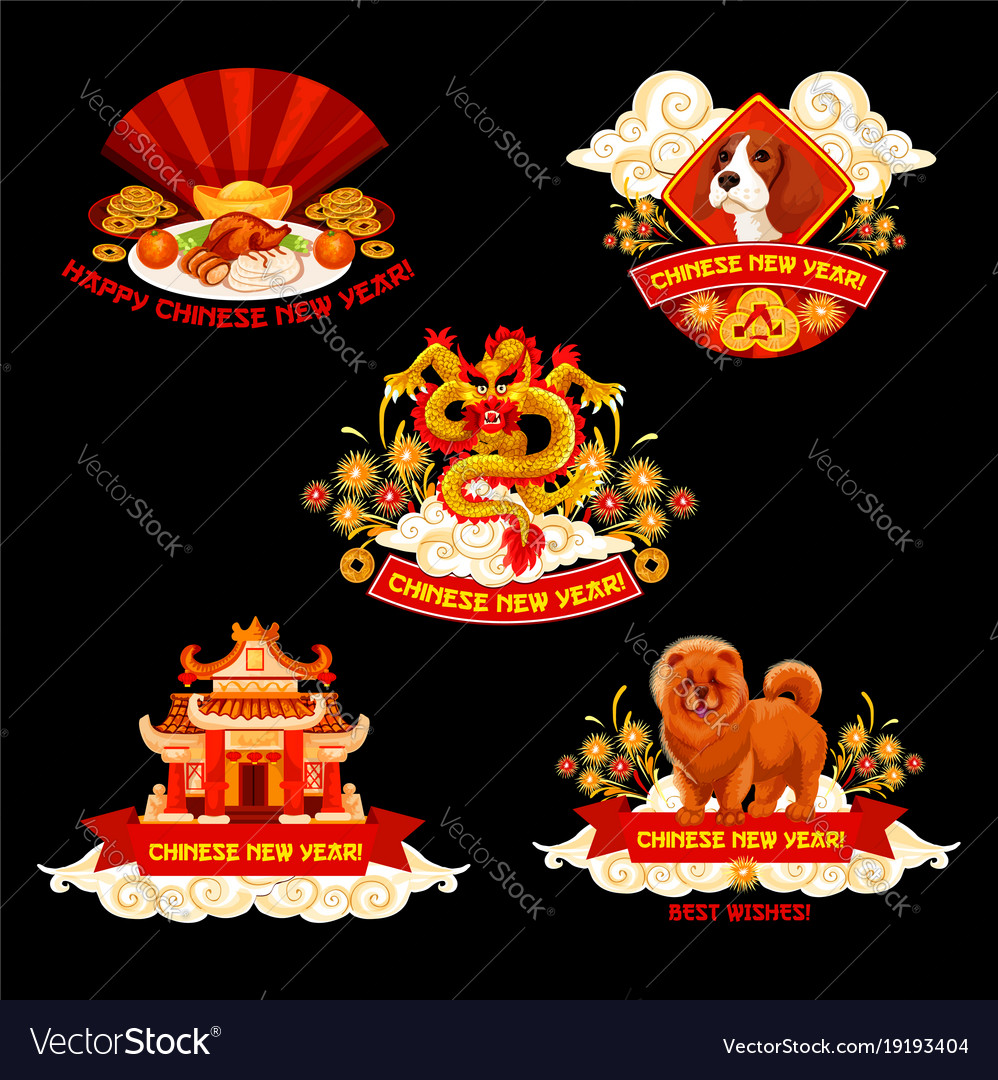 chinese new year label for spring festival design vector image