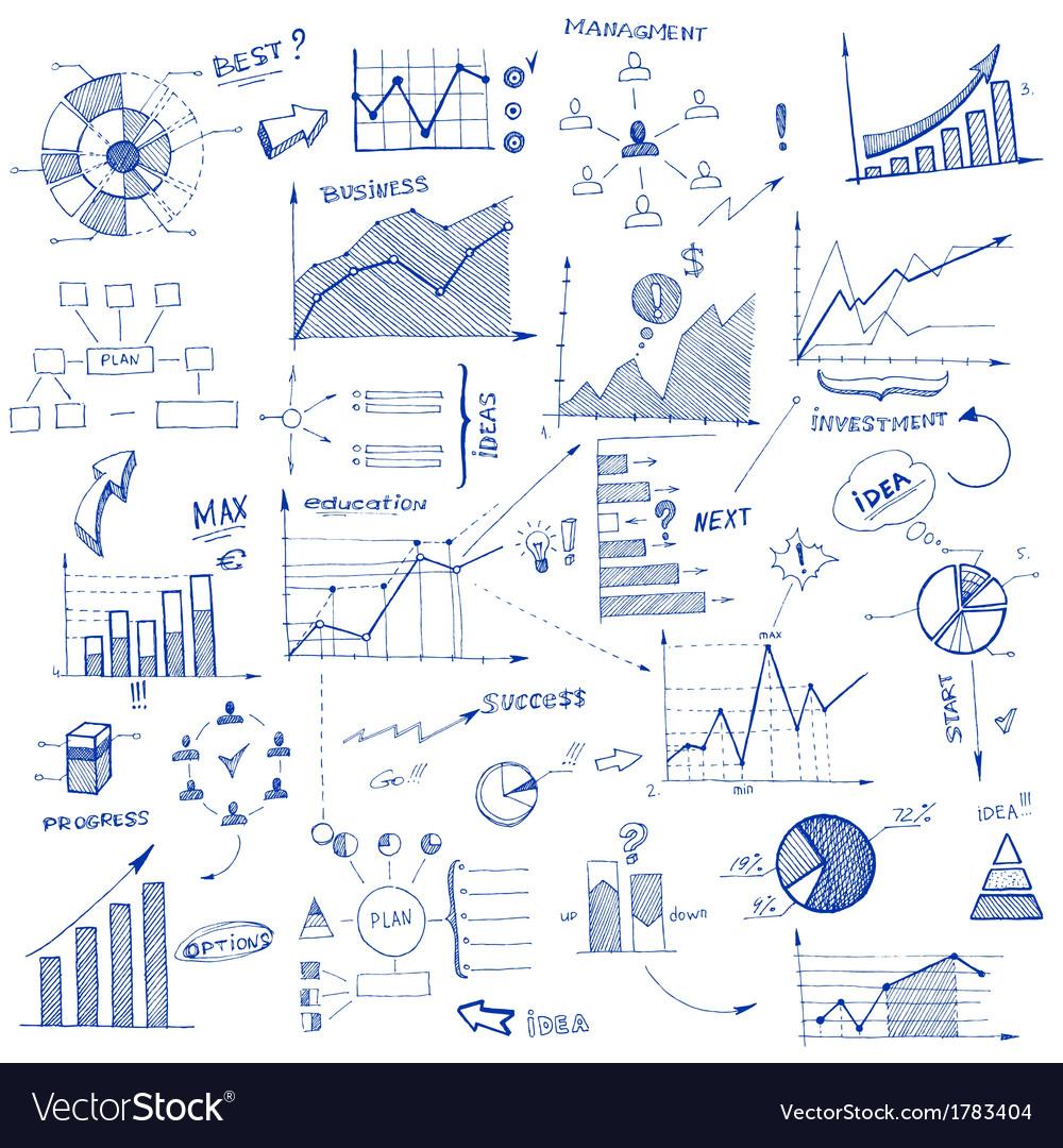 Doodle infographic design elements vector image