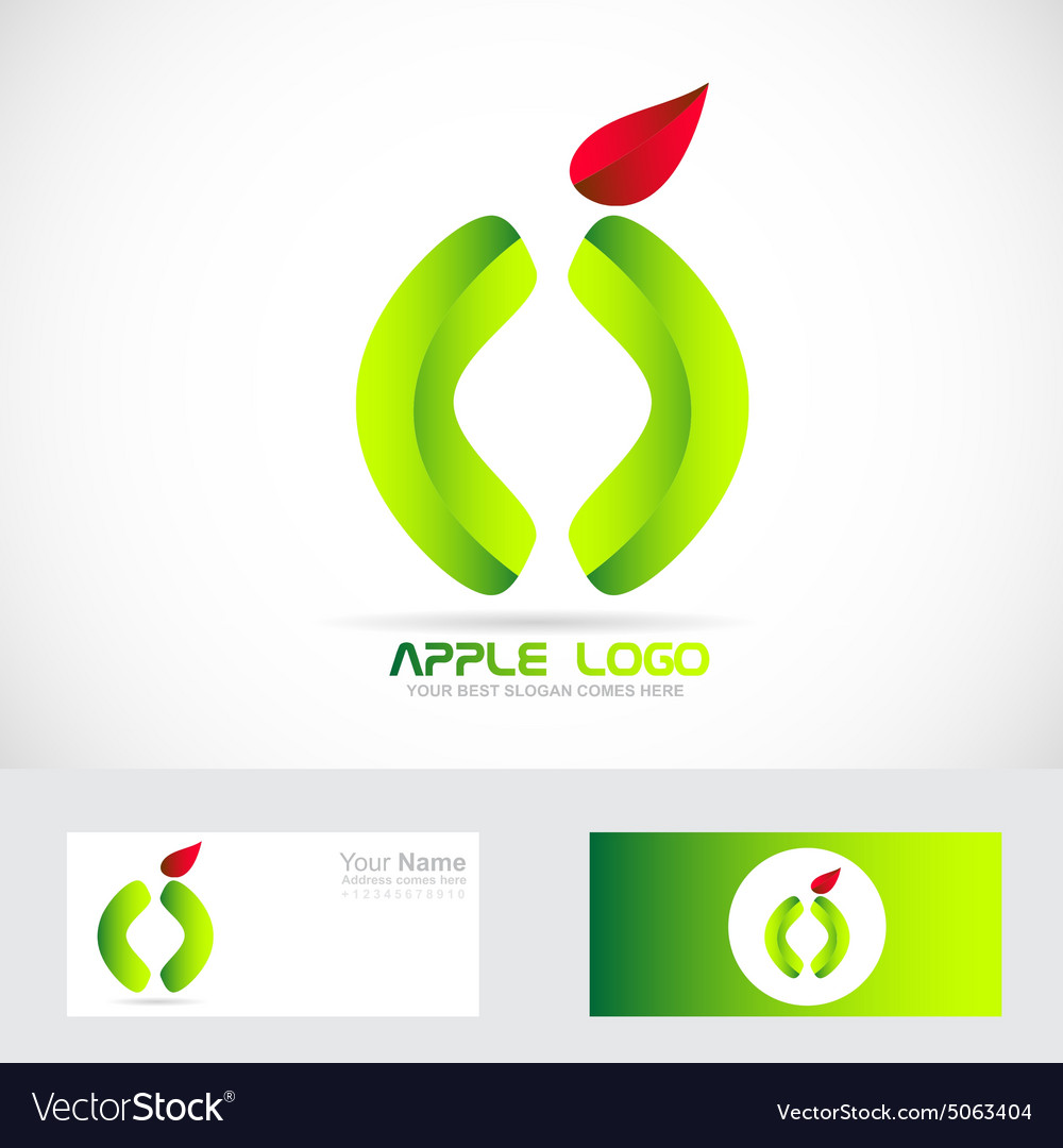 Green apple healthy food logo vector image