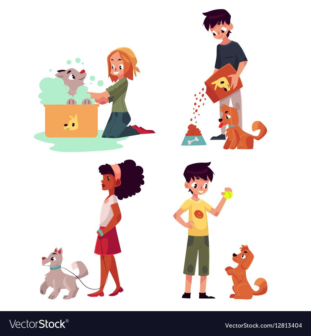 Happy kids feeding washing walking a dog