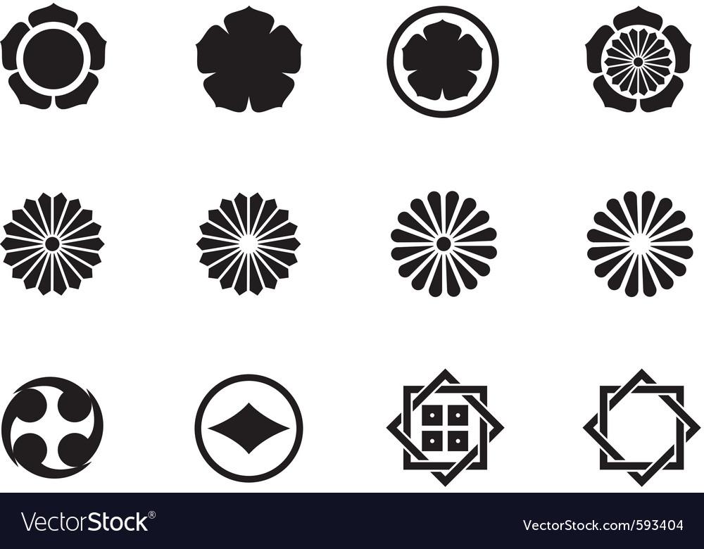 Japanese mon symbols vector image