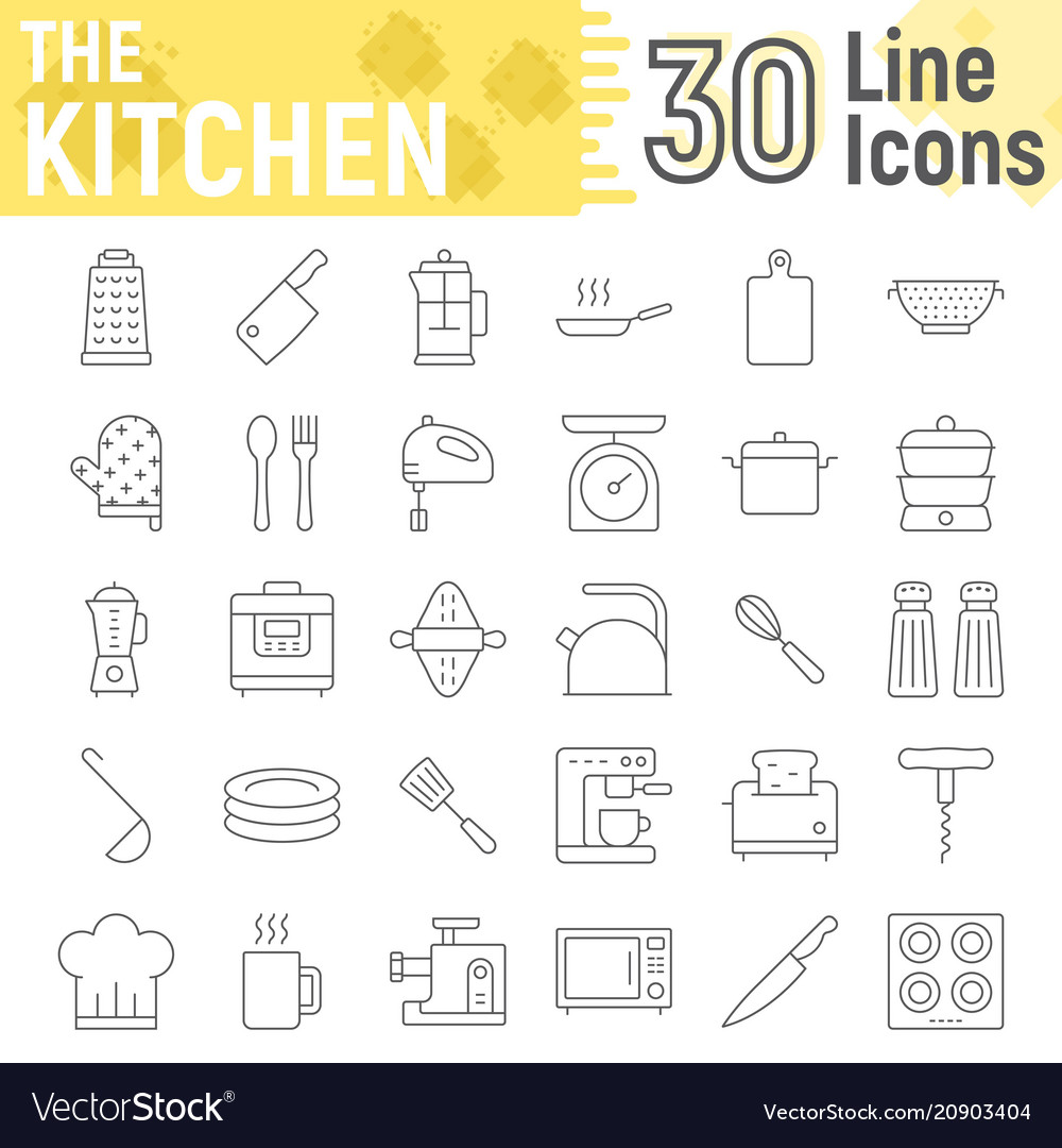 Kitchen thin line icon set household signs