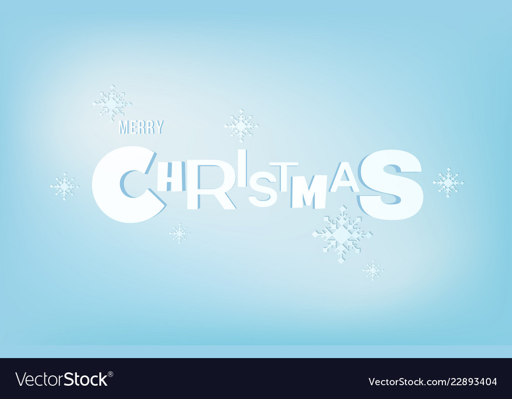 Merry christmas lettering typo an snowflake