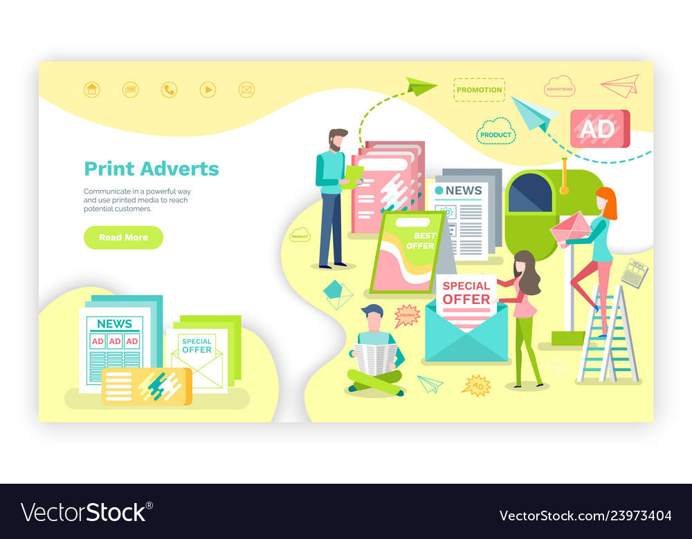 Print advertising published information on paper