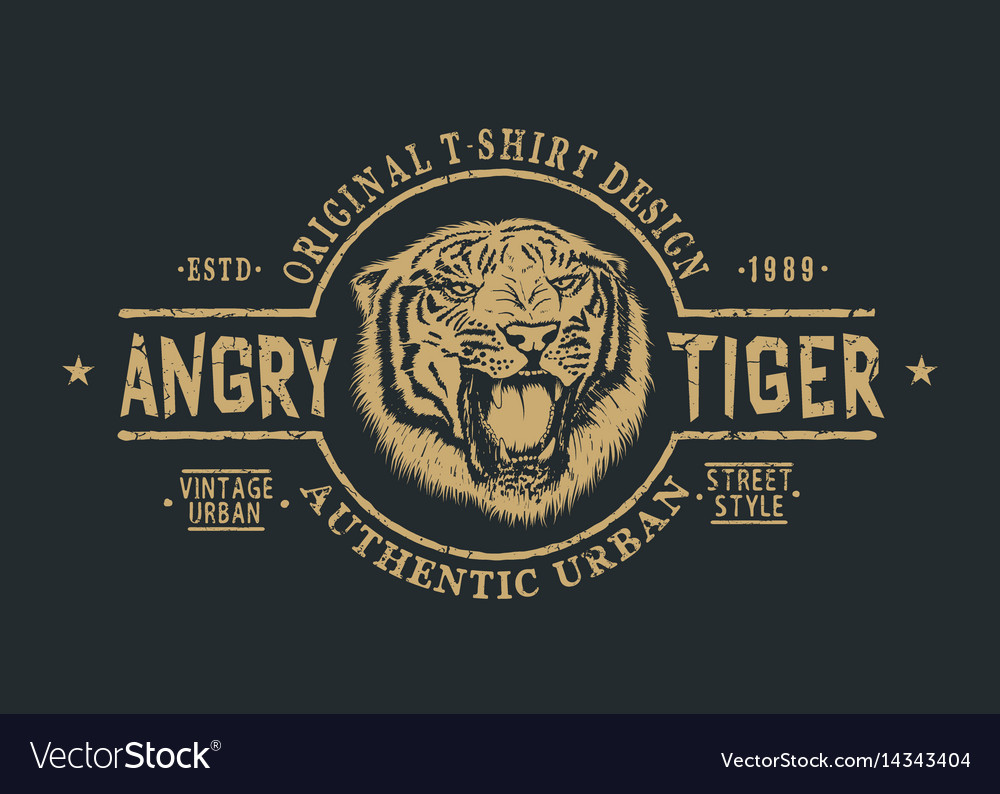 Retro label with angry tiger