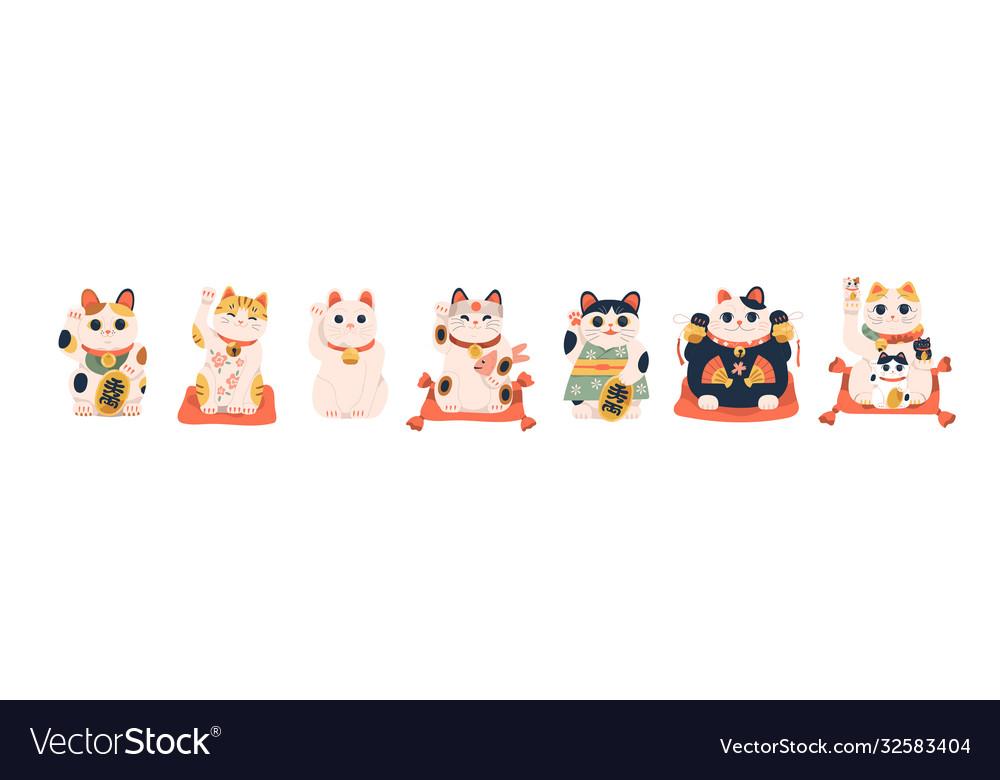 Set different japanese lucky cat maneki neko