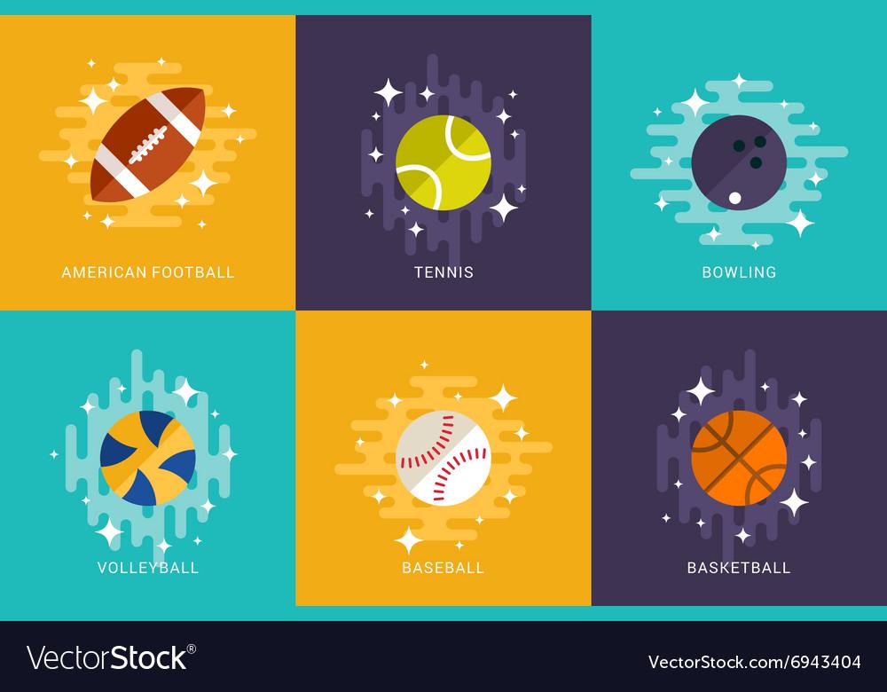 Set of Sport Balls Flat Style American Football