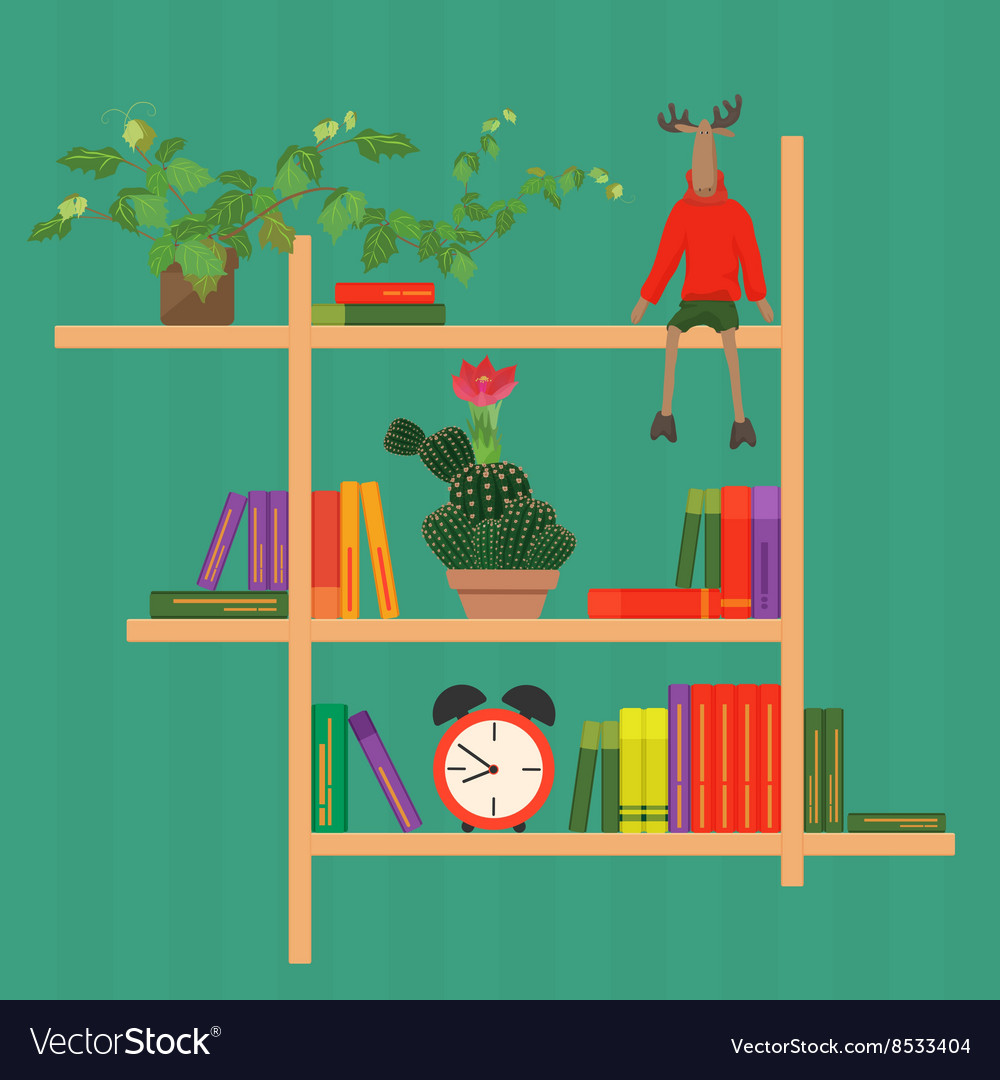 Shelves with colorful books clock cactus and toy