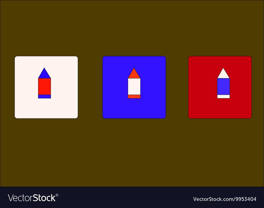 Three bright pencil vector image