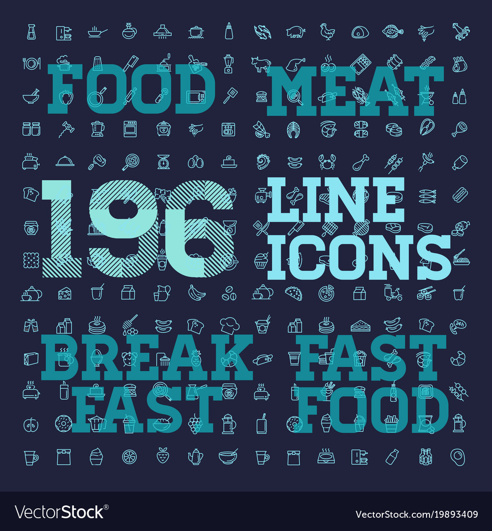 196 food and drink thin icon set