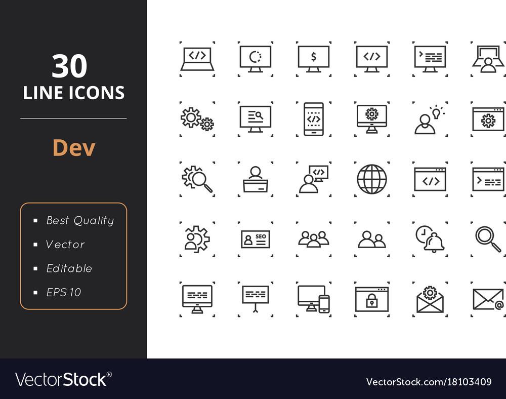 30 development line icons