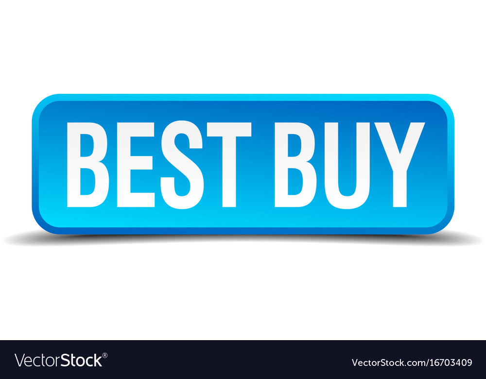 Best buy blue 3d realistic square isolated button