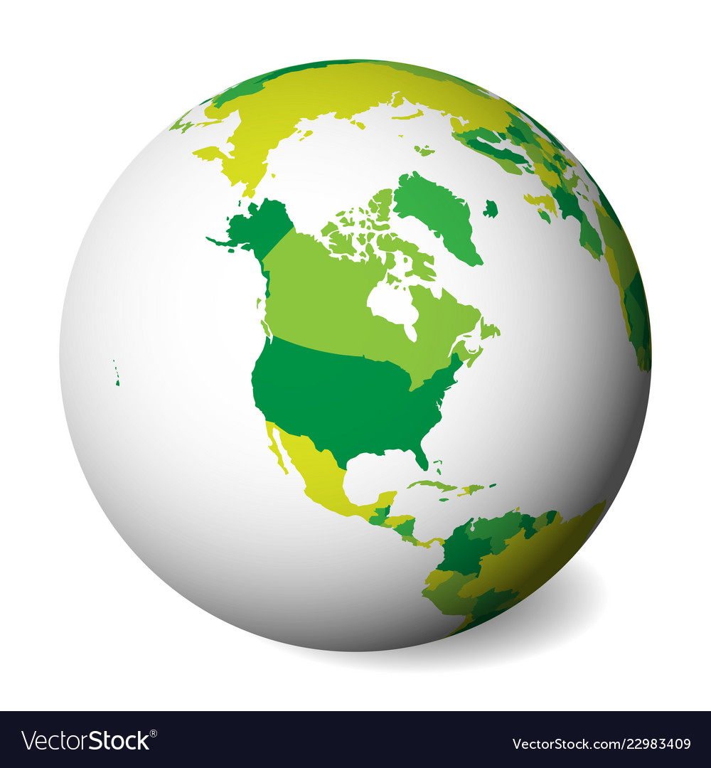 Blank political map of north america 3d earth Vector Image on