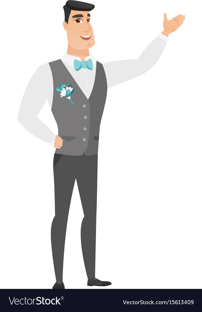 Caucasian groom showing a direction vector image