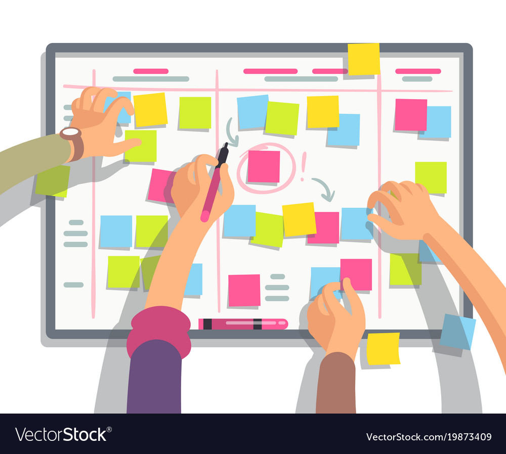 developers team planning weekly schedule tasks on vector image