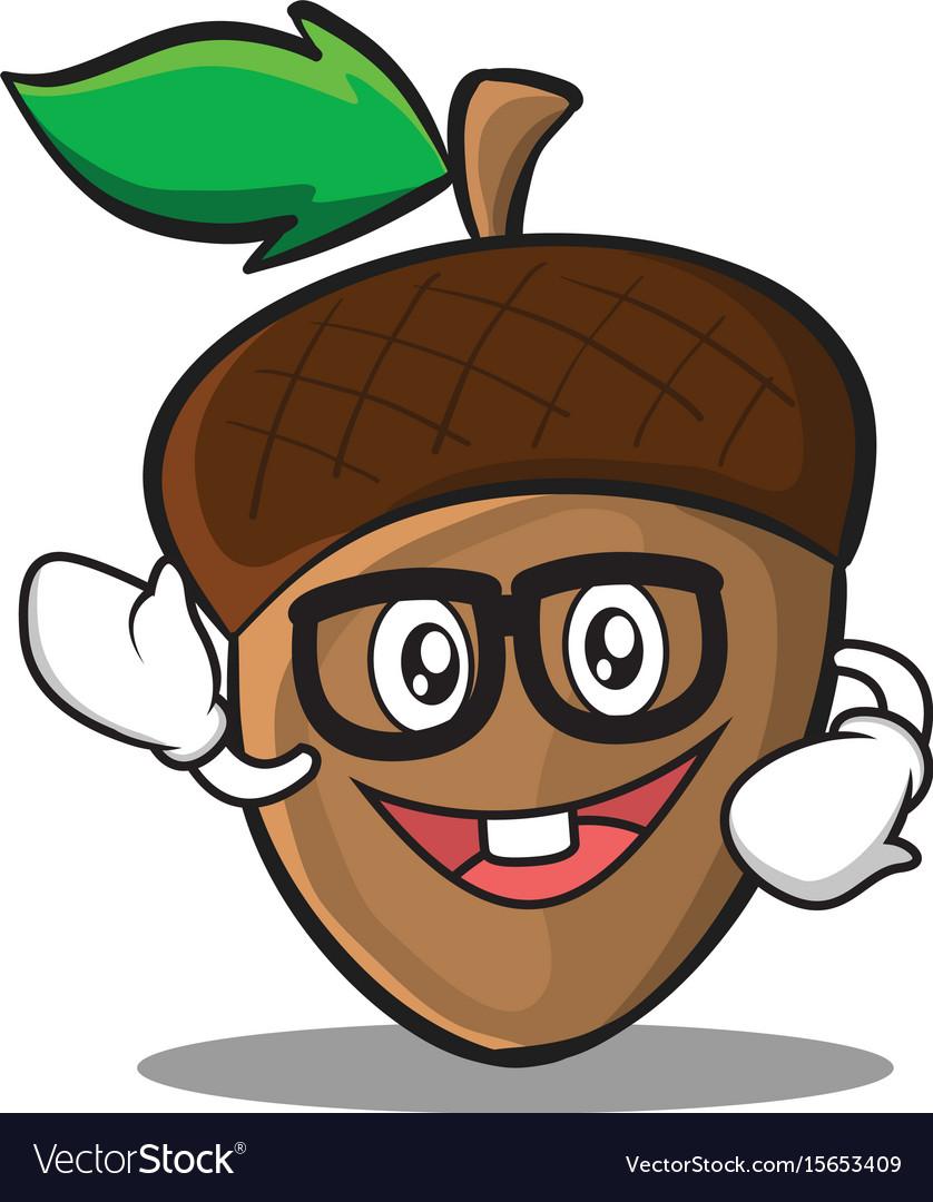 Geek acorn cartoon character style