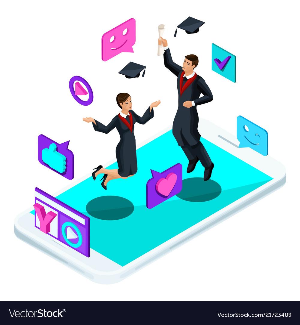 Isometrics graduates jumping rejoice academic