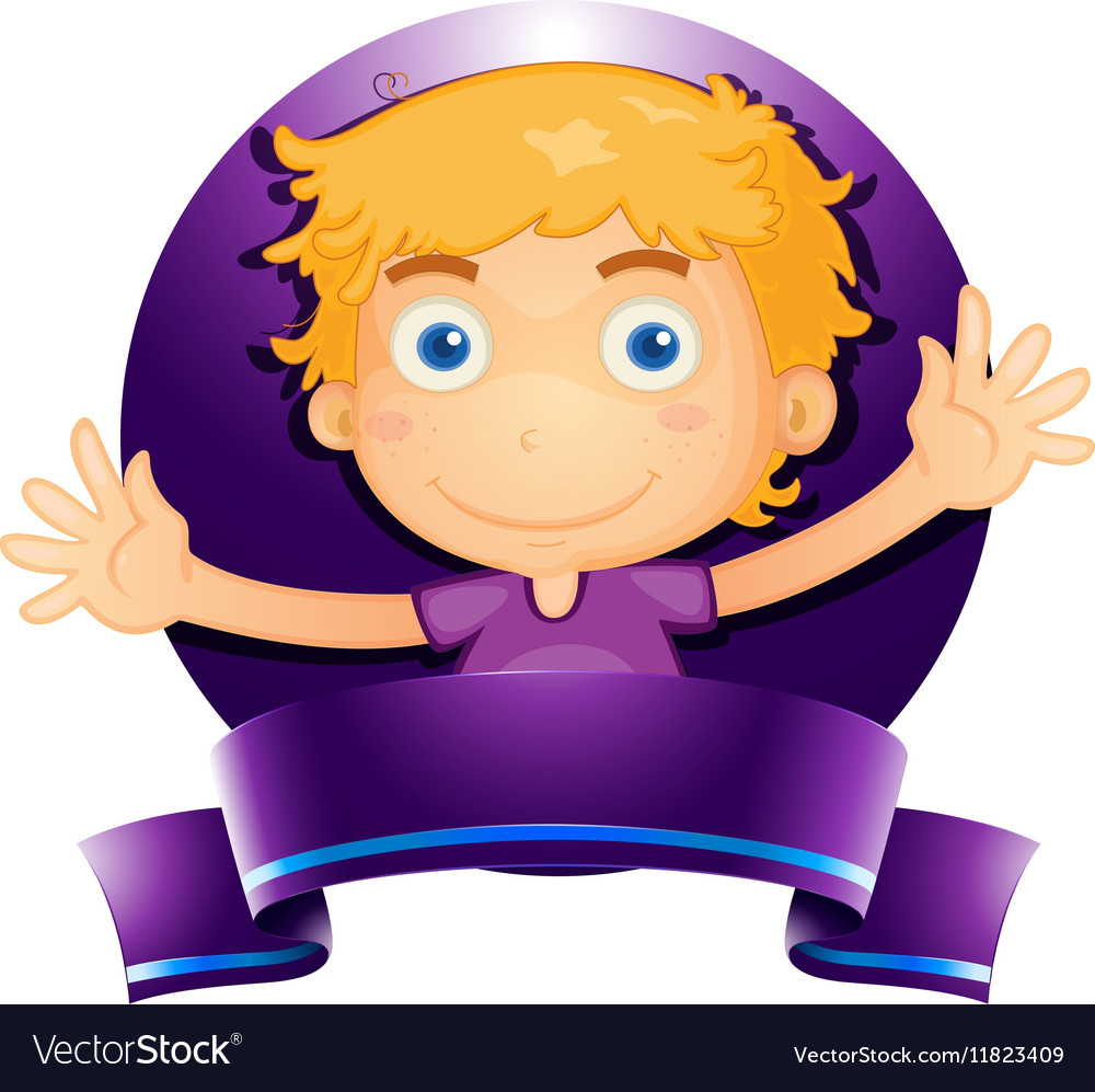 Label design with boy in purple vector image