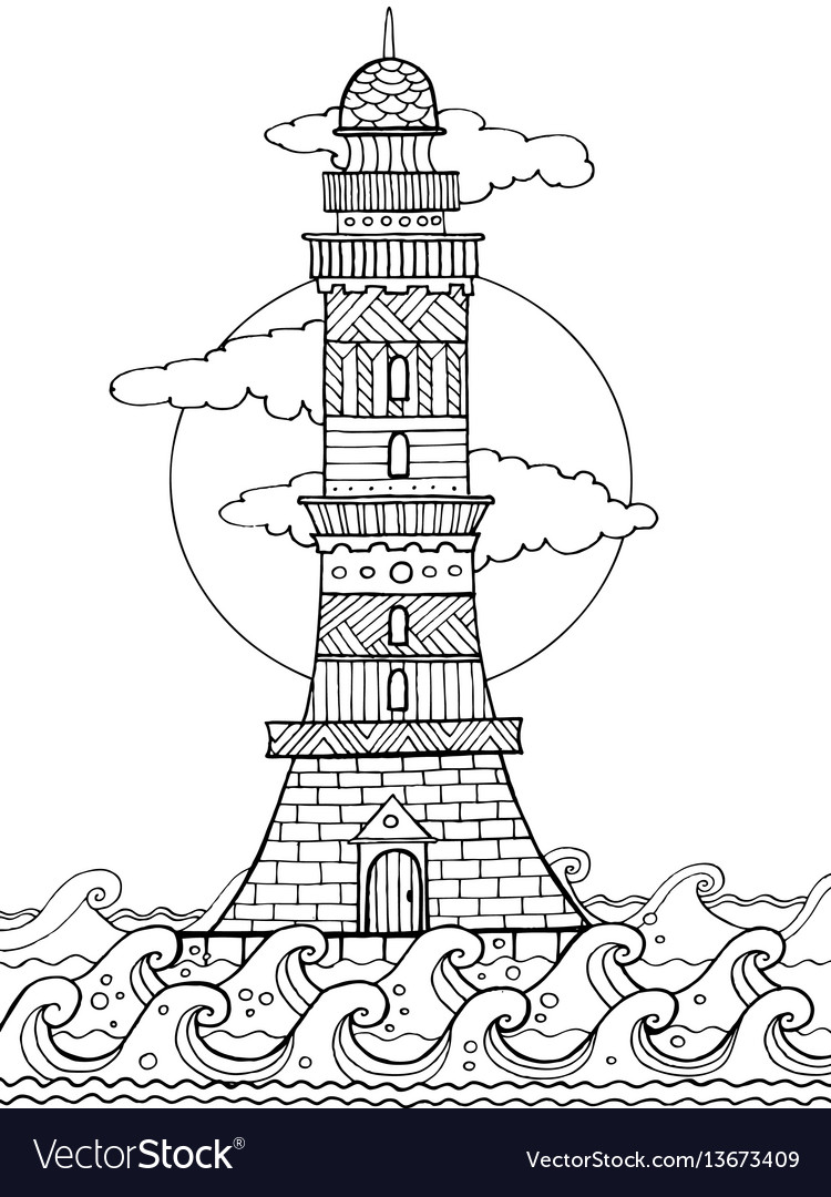 Lighthouse coloring book Royalty Free Vector Image