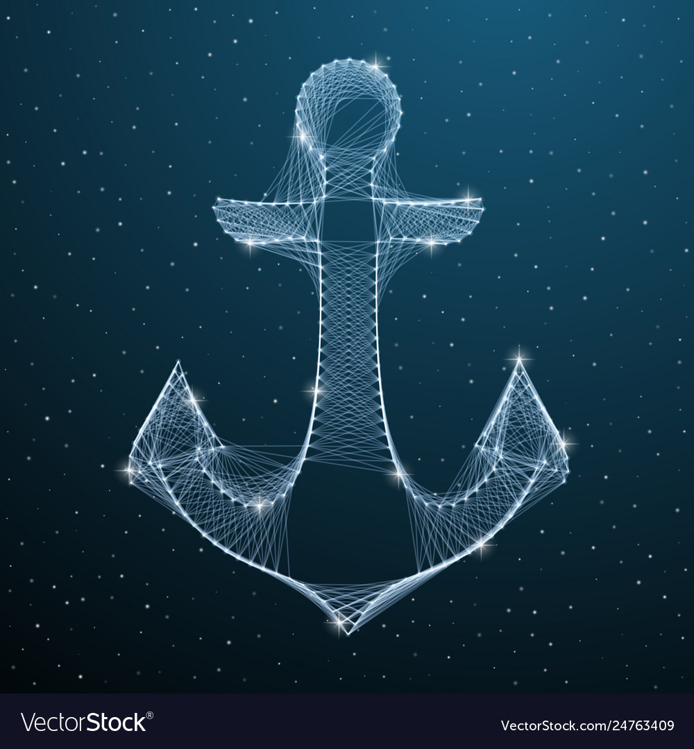 Nautical anchor low poly digital silhouette with