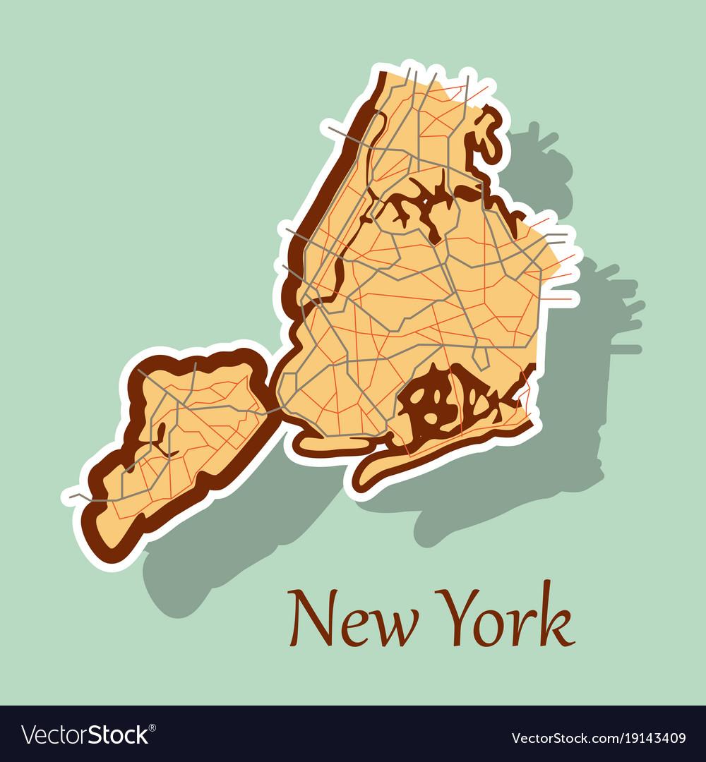 Cartoon Map Of New York City.New York City Map Sticker Royalty Free Vector Image