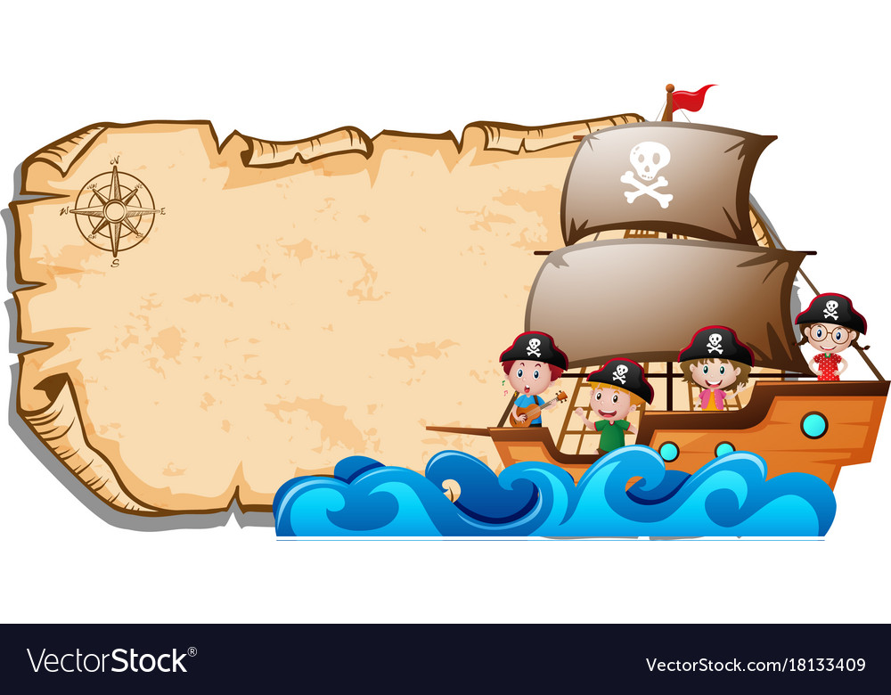 Paper template with children on pirate ship Vector Image