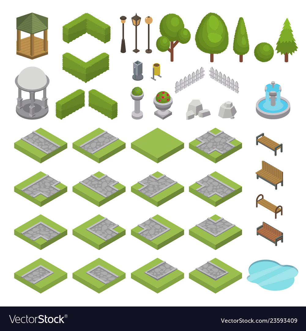 Park isometric parkland with green garden
