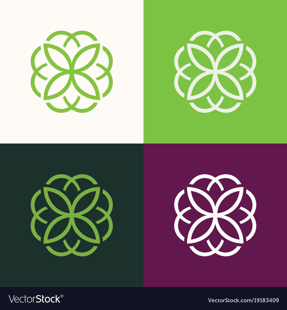Round flower green set logo vector image