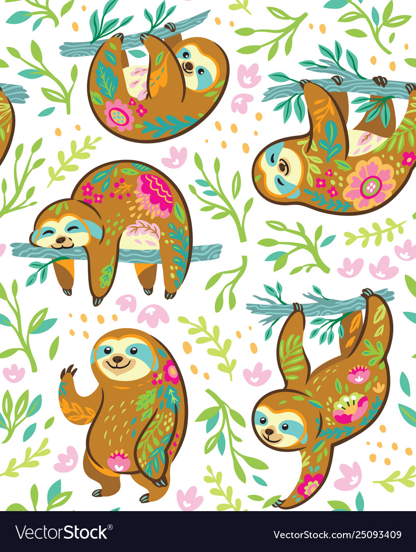 Sloth bear animal characters in floral ornament