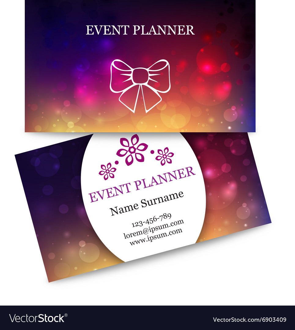 Colorful Business Cards For Event Planner