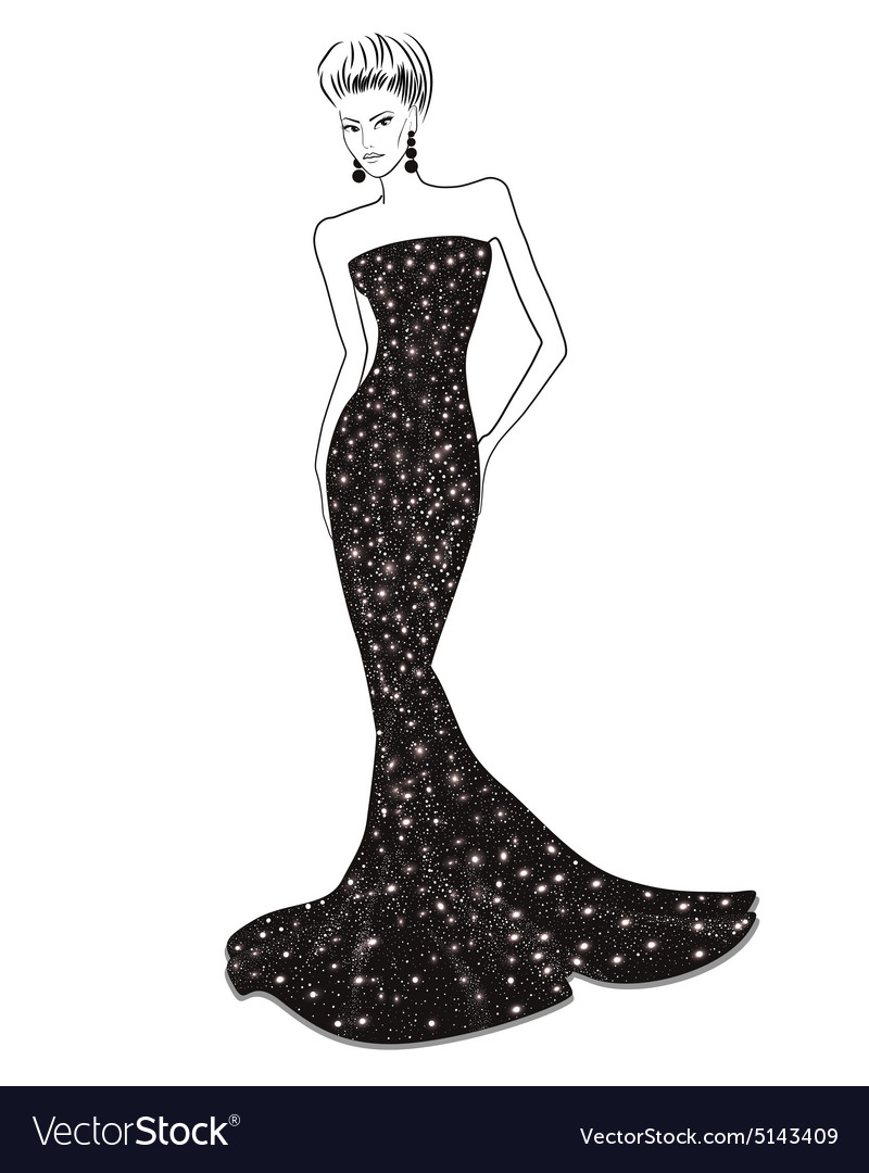 Woman in long evening dress Royalty Free Vector Image