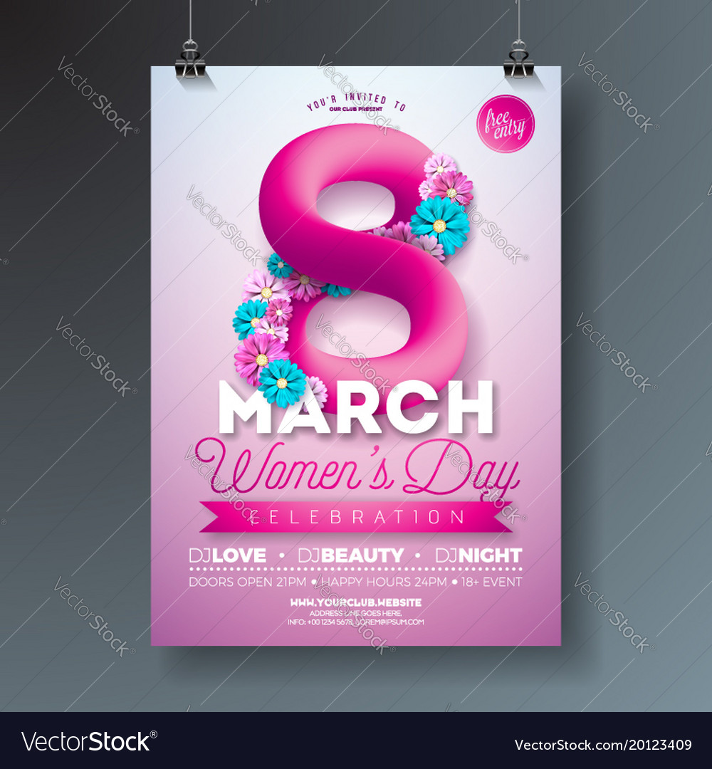 Womens day party flyer with abstract