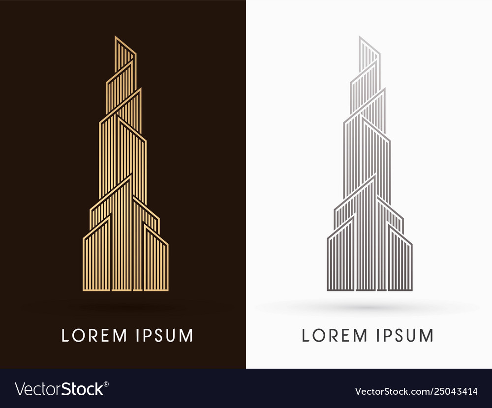 Abstract building construction high tower graphic