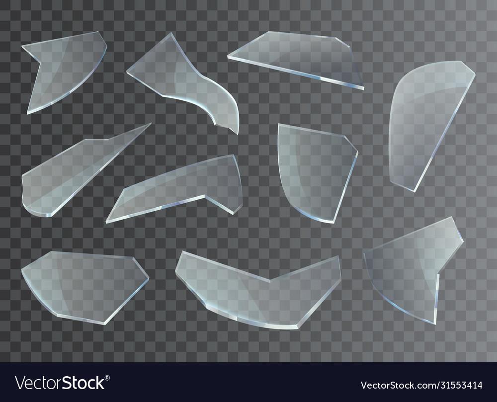 Broken glass shards pieces and splinter shatters