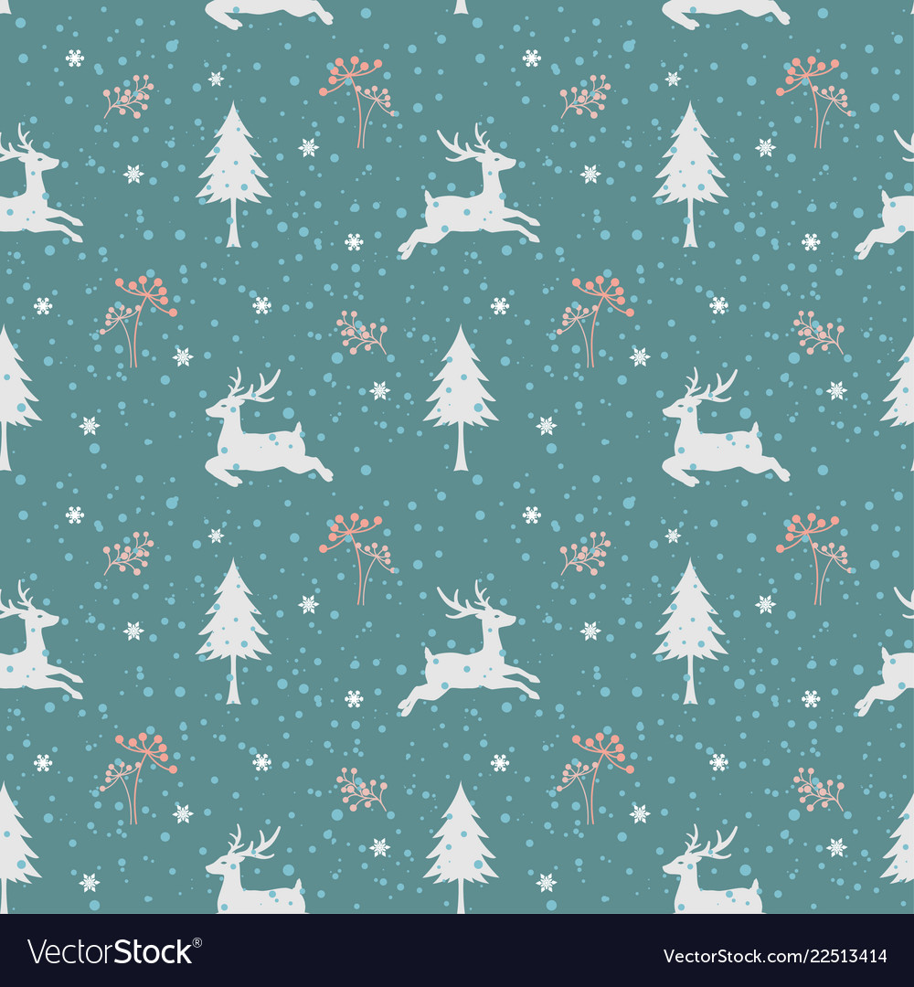 Christmas holiday seamless pattern with deers