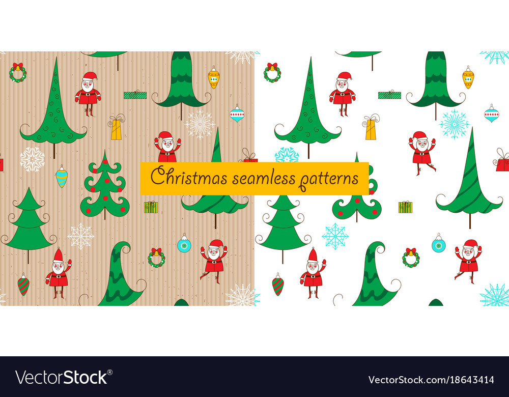 Christmas two seamless patterns