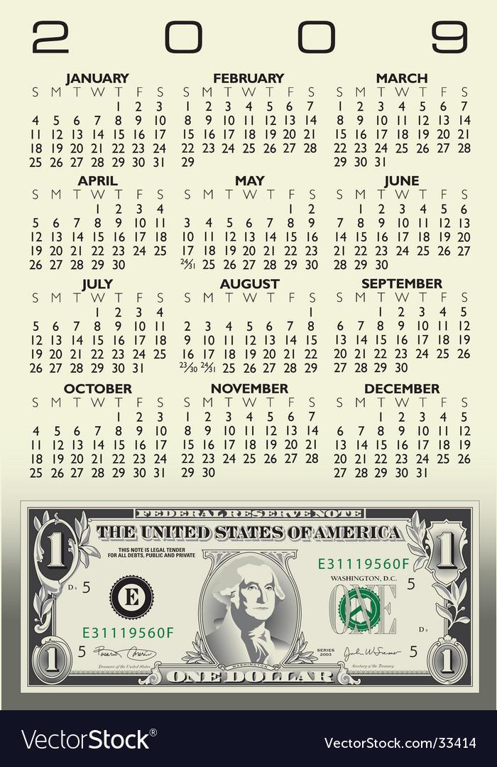 Bill Calendar   Dollar Bill Calendar Royalty Free Vector Image
