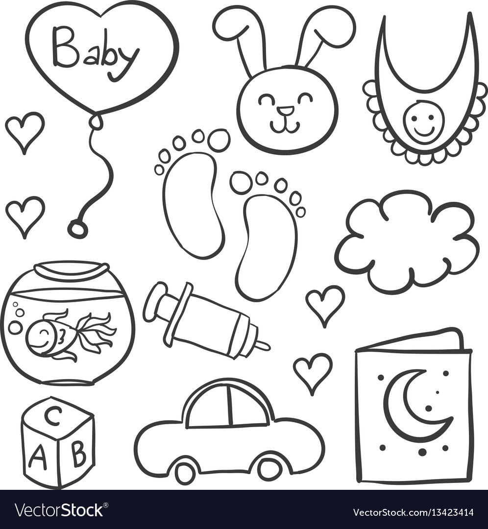 Doodle of babies element collection