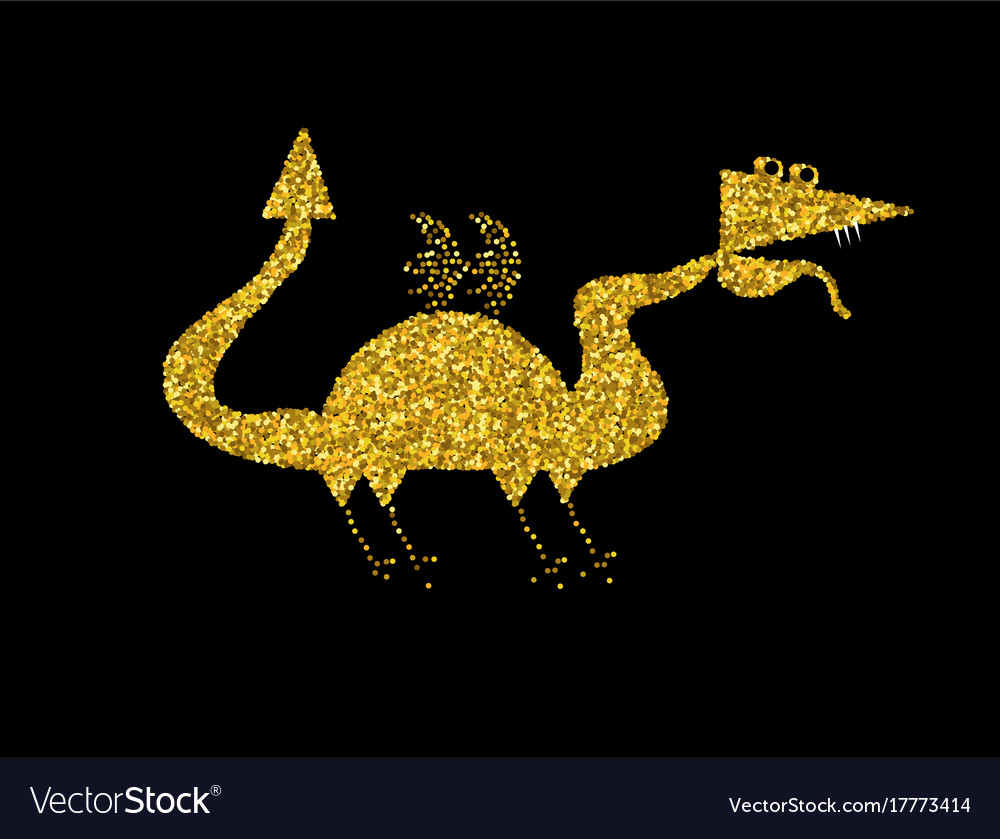 Golden dragon on black backgroundgold chinese